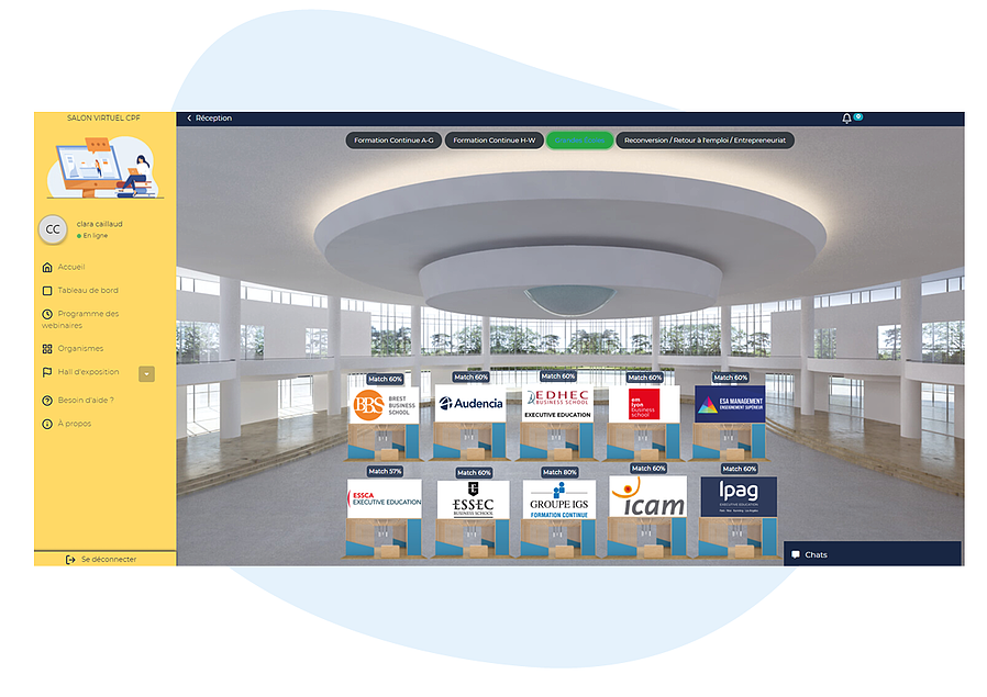 screenshot provider section hall thématique salon virtuel